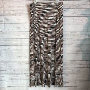 Tommy Bahama Striped Earth Tone Maxi Skirt Large